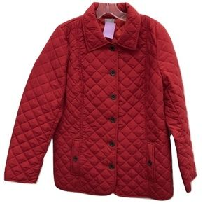 J. Jill Red Quilted Coat